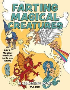farting mythical creatures, funny coloring books