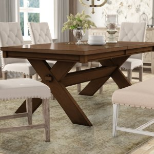 isabell butterfly leaf trestle dining table, expandable dining table