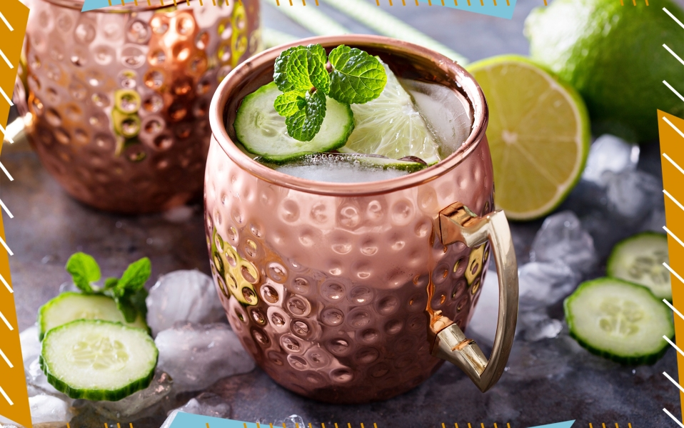 Moscow mule cocktail with lime and