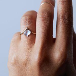 nastled moonstone diamond ring, engagement rings under $1,000