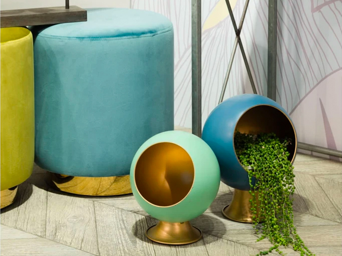 orb planters in living room
