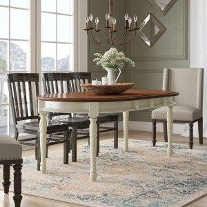 Merlot/Buttermilk Shelburne Rubberwood dining table, expandable dining table