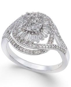 Macy's diamond starburst cluster ring, engagement rings under 1000