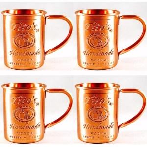 Tito's Vodka Copper Moscow Mule Mug Set