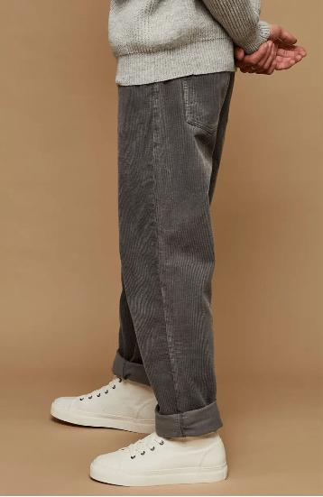 Topman wide leg cord pants in gray