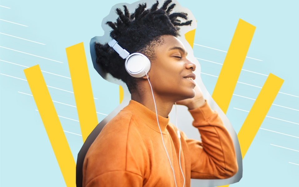 man listening to music streaming service
