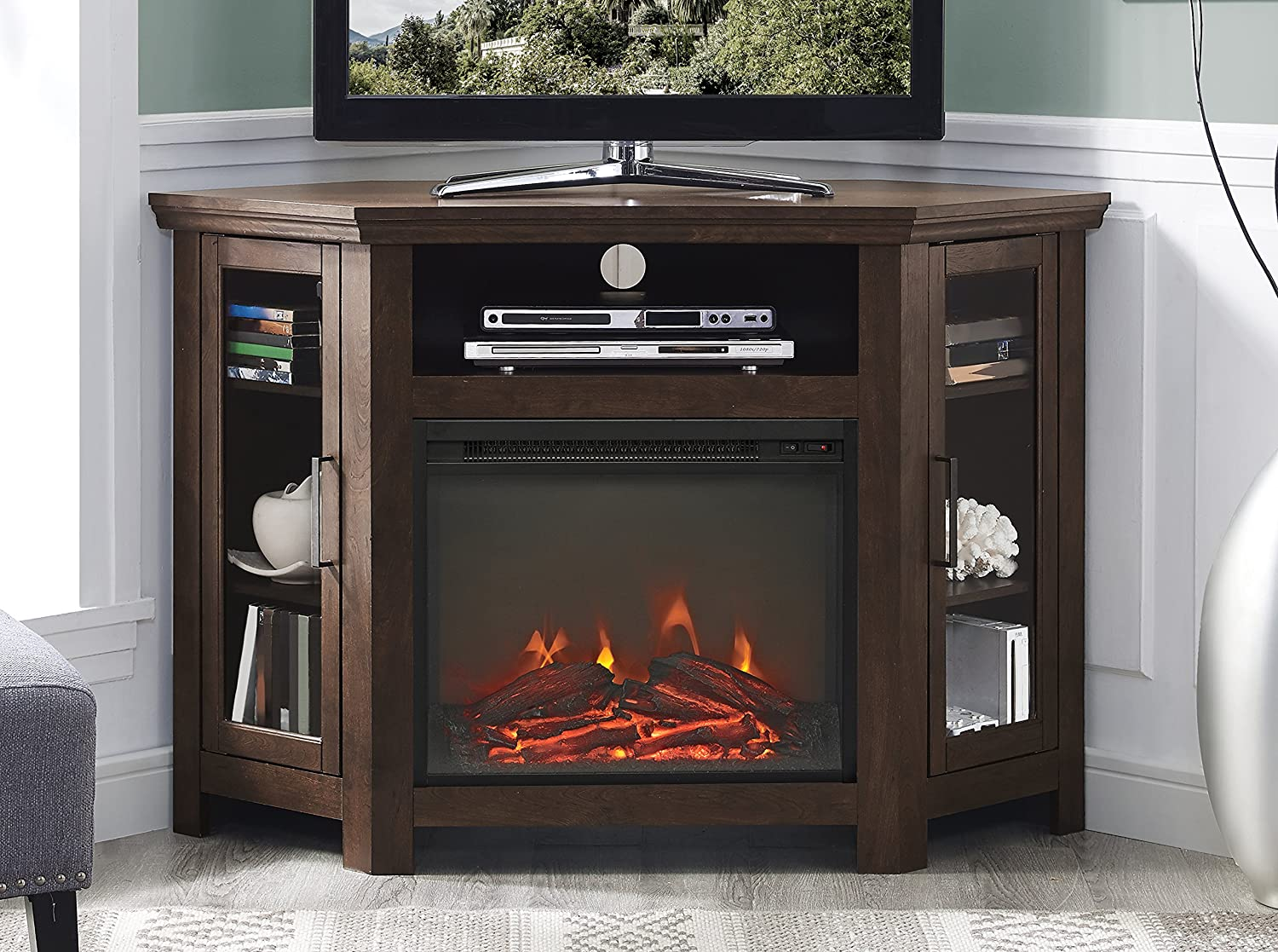 walker edison alcott classic tv stand with fireplace