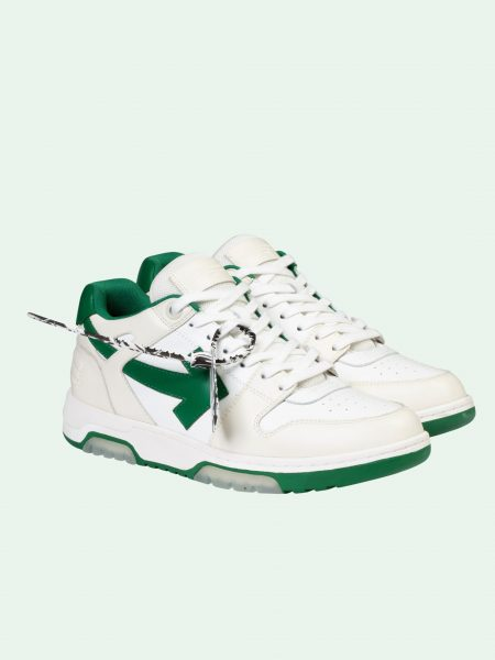 off-white out of office green and white sneakers