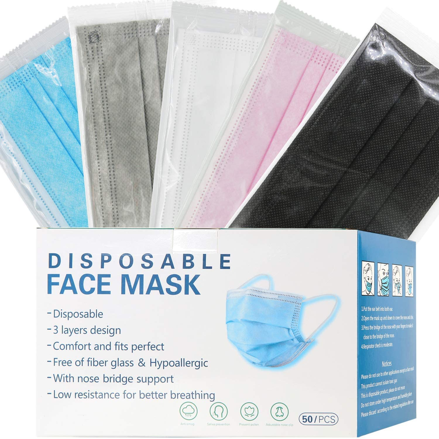 mystcare Individually Wrapped Disposable Face Masks