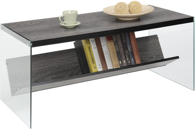 glass and wood modern coffee table