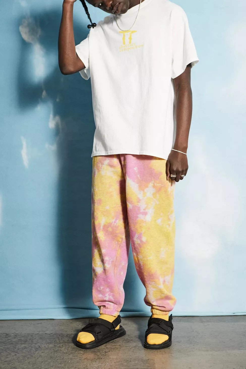 iets frans... Pink & Yellow Tie-Dye Jogger Pant
