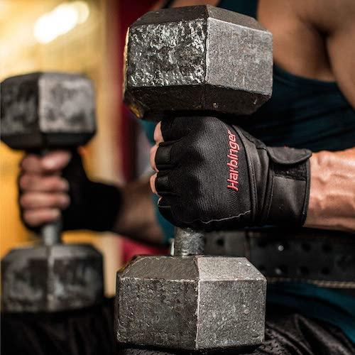harbinger pro gloves with barbelll, top-rated weightlifting gloves
