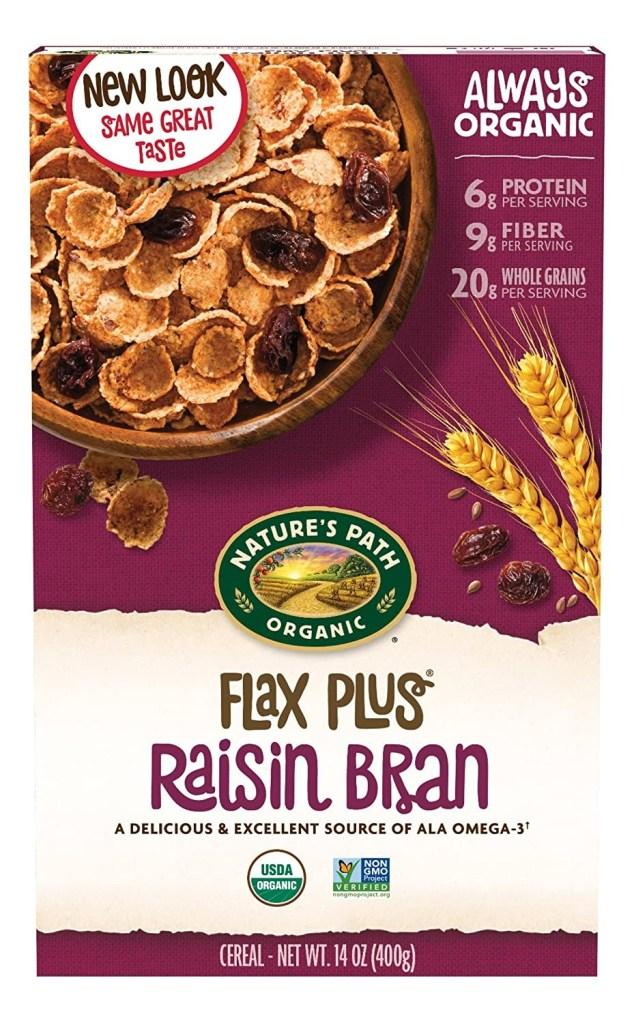 NATURE'S PATH ORGANIC FLAX PLUS RAISIN BRAN, Best High Fiber Cereal