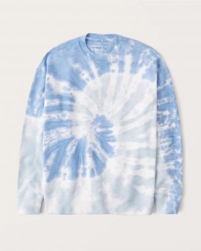 Abercrombie & Fitch Relaxed Tie Dye Crewneck Sweatshirt