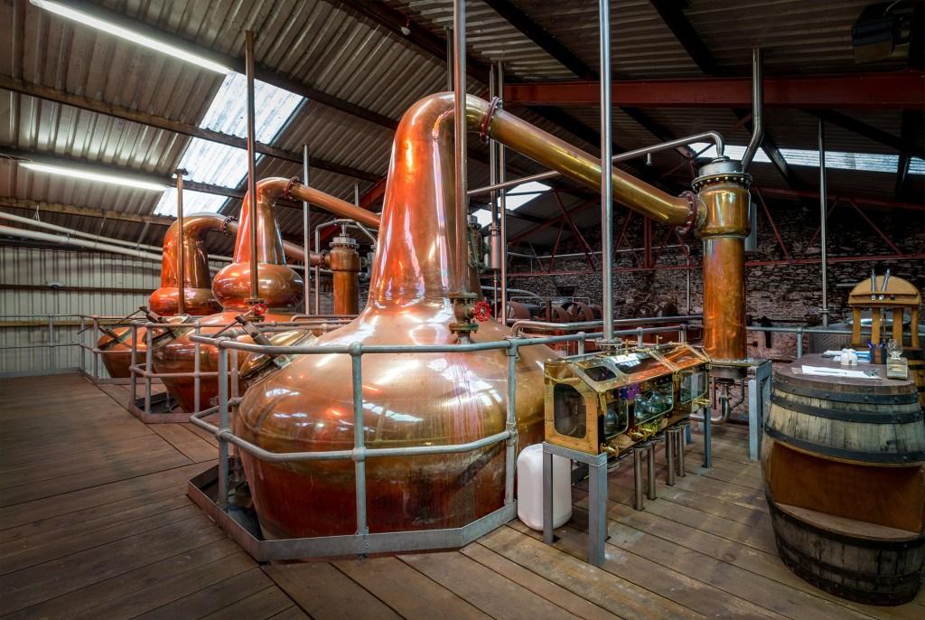 whiskey stills in distillery