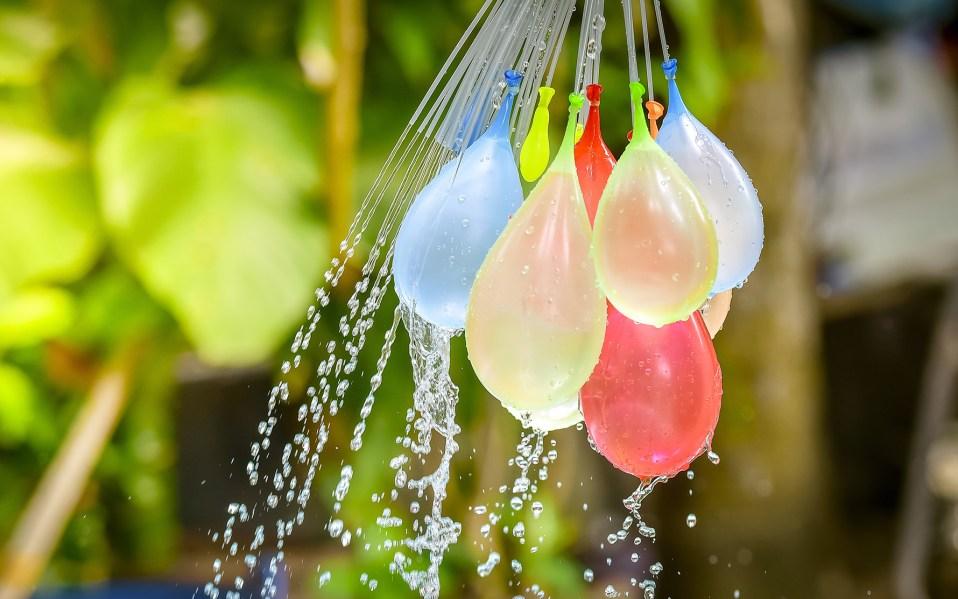 water balloons in backyard