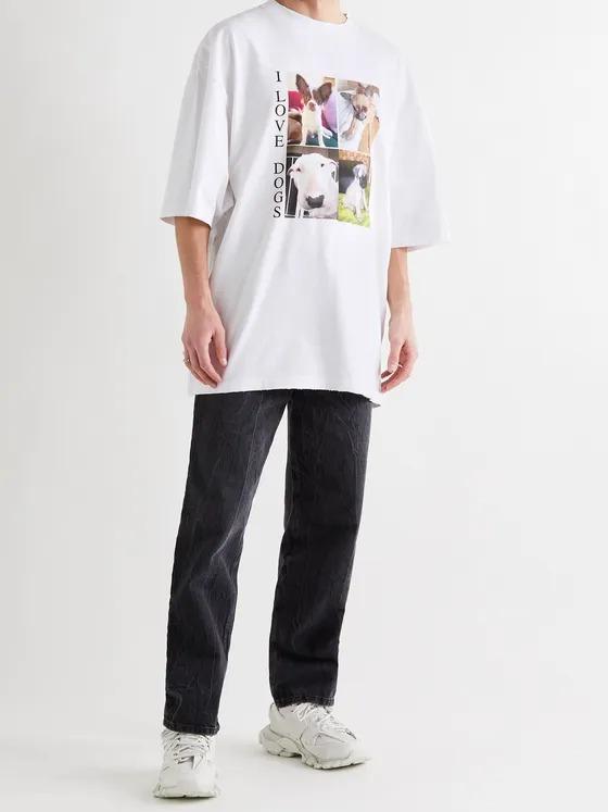 designer t-shirts for men Balenciaga-Oversized-Distressed-Cotton-T-Shirt