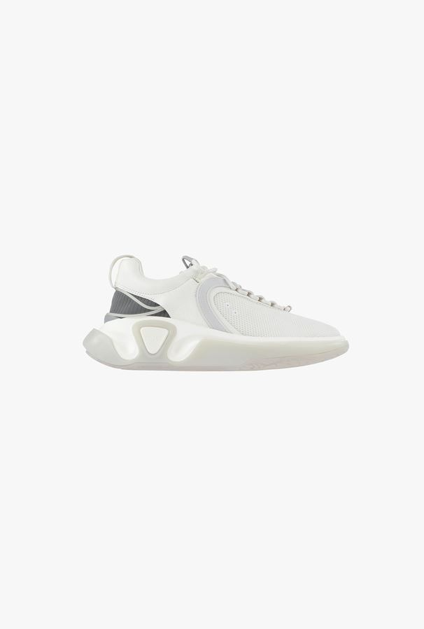 Balmain White and Gray Leather Mesh B Leather Running Shoes - best designer sneakers