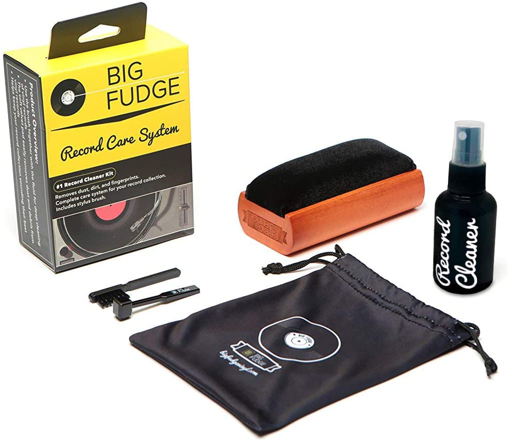 Big Fudge Record Cleaning Kit with brush, spray and cleaning brushes, vinyl accessories, record player accessories
