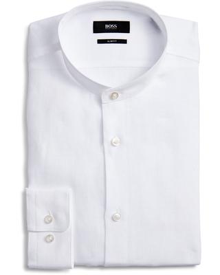 Jordi Slim Fit Stripe Band Collar Dress Shirt, best collarless shirts