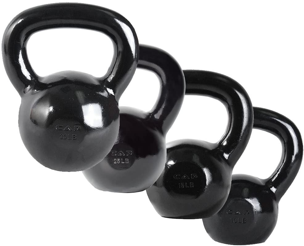 Cap Barbell Enamel Coated Cast Iron Kettlebell Set with 10, 15, 25 and 30 pounds