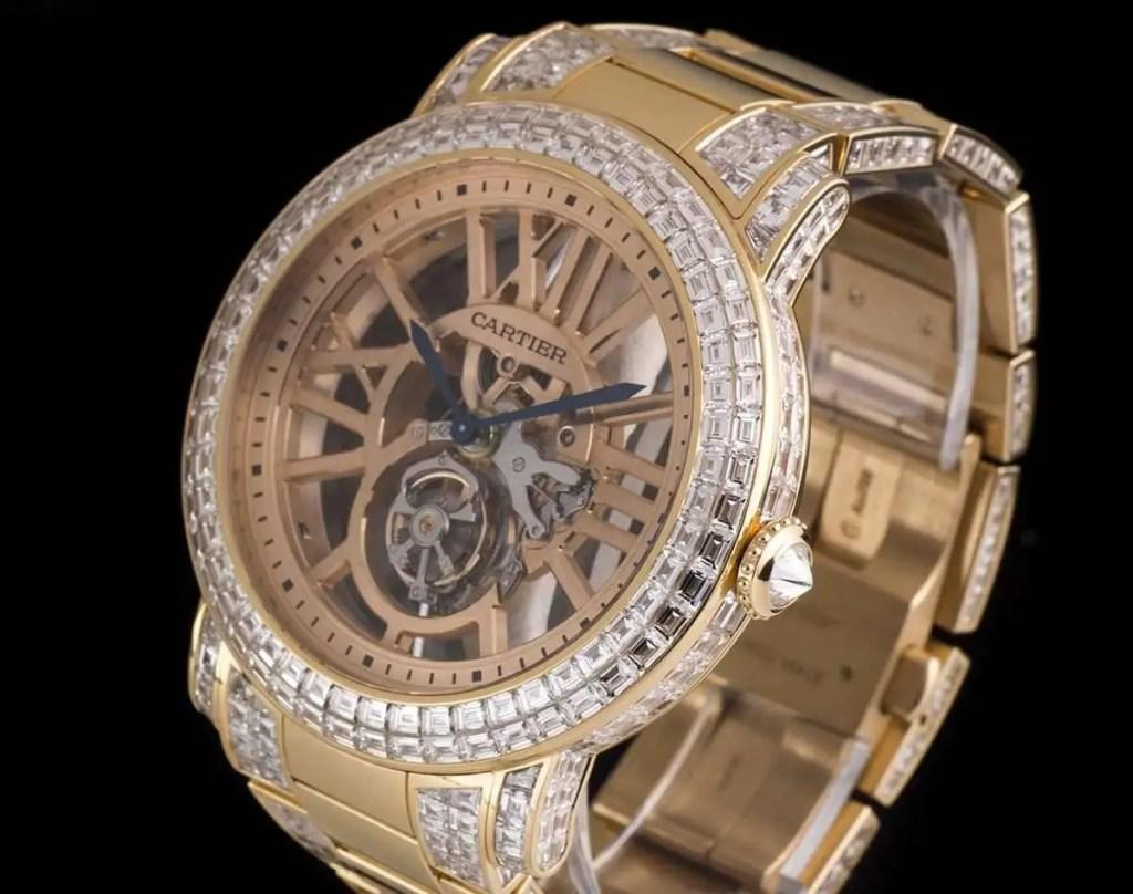 Cartier-Rose-Gold-Unique-Diamond-Set-Tourbillon-Skeleton-Wristwatch Most Expensive Watch