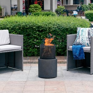wrought studio black polyresin wood burning fire pit, mini fire pits