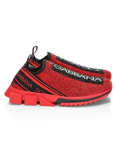 Dolce and Gabbana Sorrento Embellished Logo Slip-On Knit Sneakers best designer sneaker