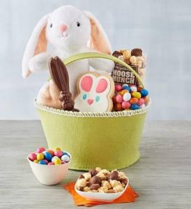 easter gift basket plush bunny