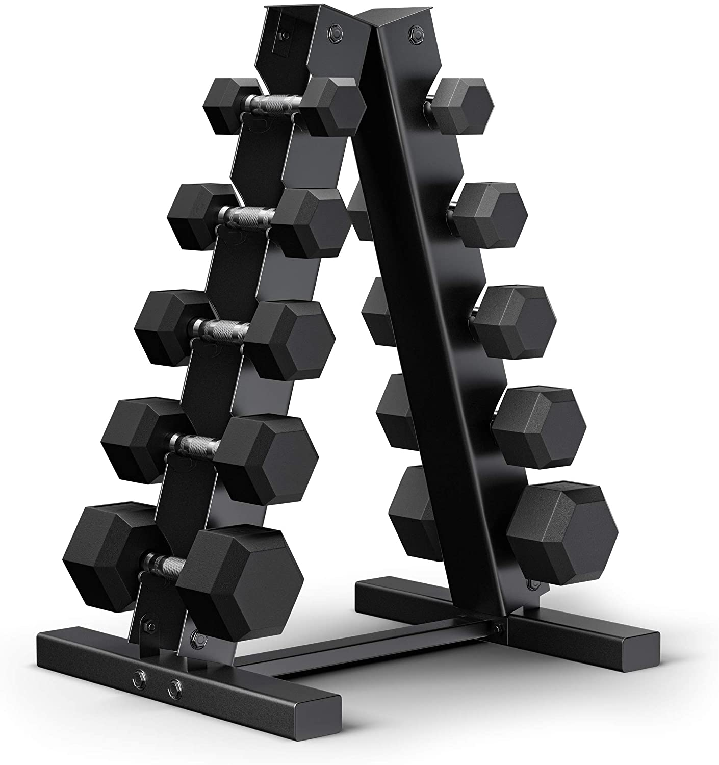 Epic Fitness 150 Pounds Hex Dumbbell Set with heavy-duty A-frame rack