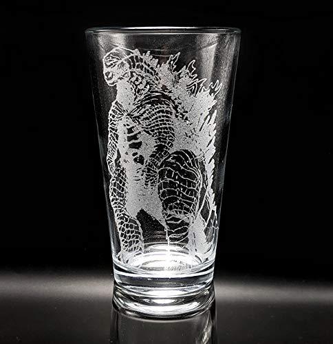 Laser etched Godzilla pint glass