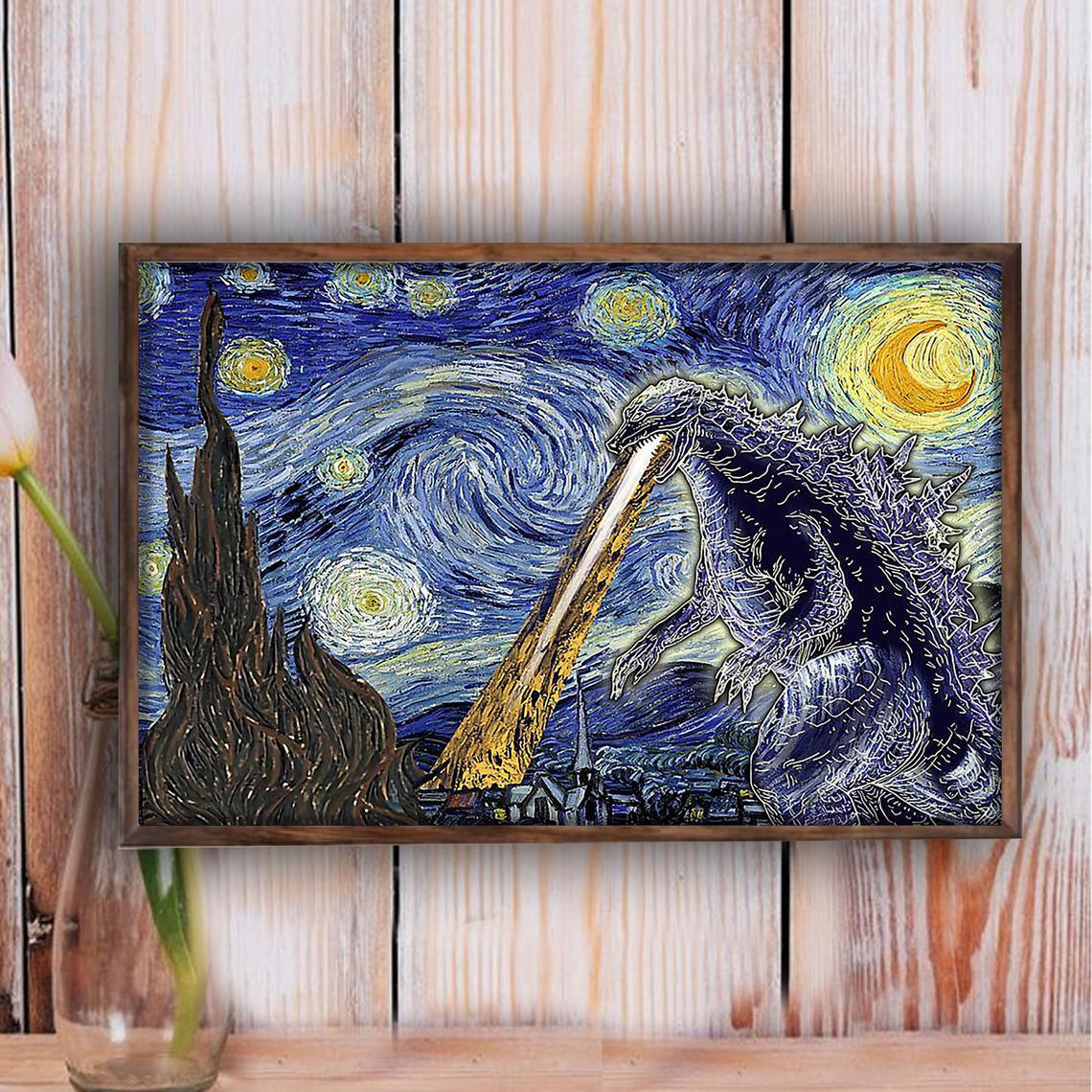 Godzilla Starry Night Poster