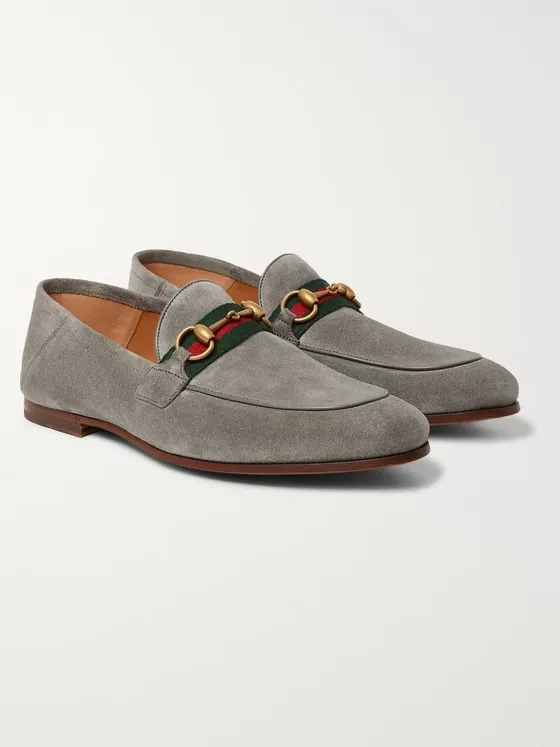 Gucci-Brixton-Horsebit-Webbing-Trimmed-Collapsible-Heel-Suede-Loafer