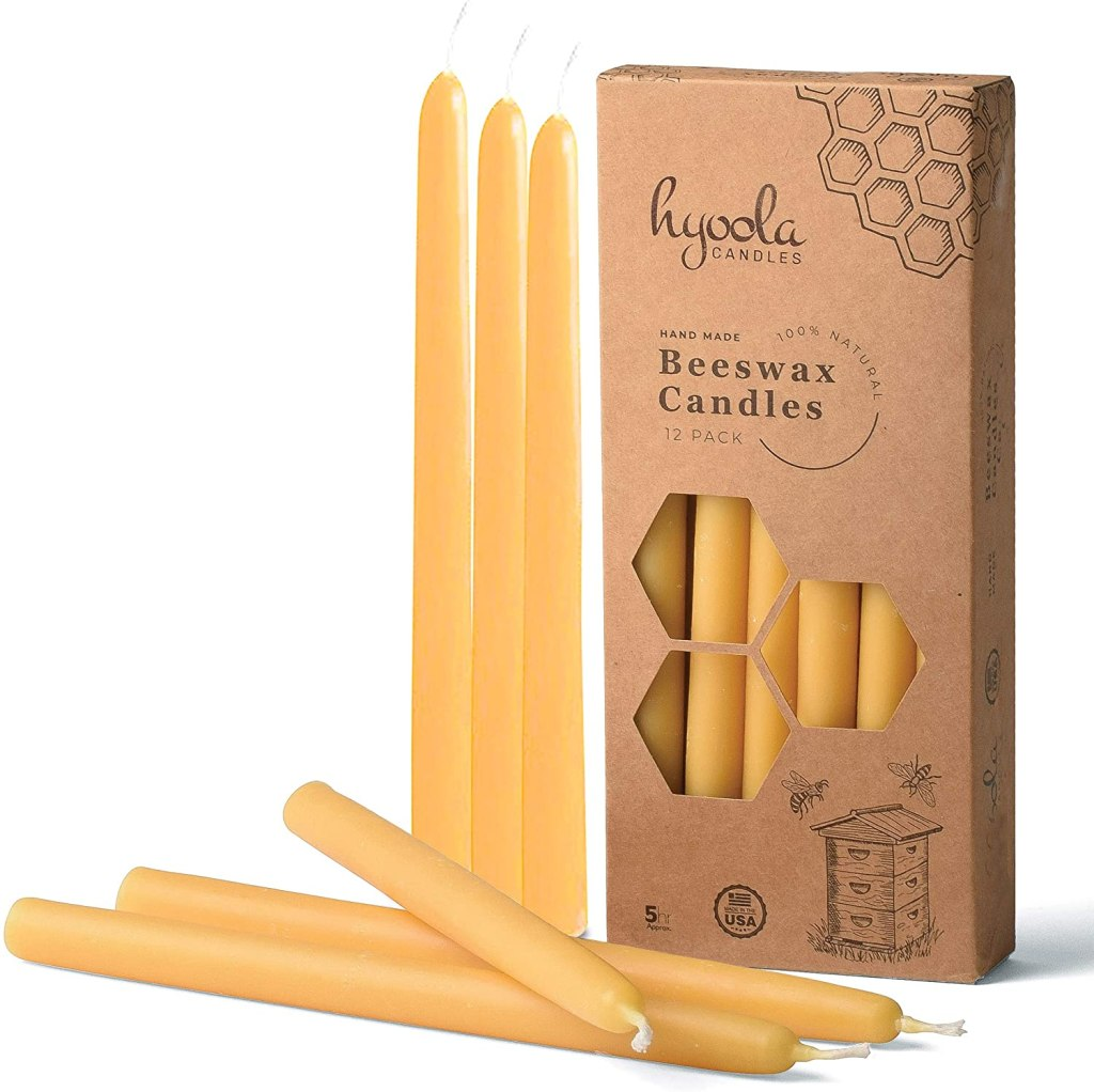 Hyoola 9 Inch Beeswax Taper Candles