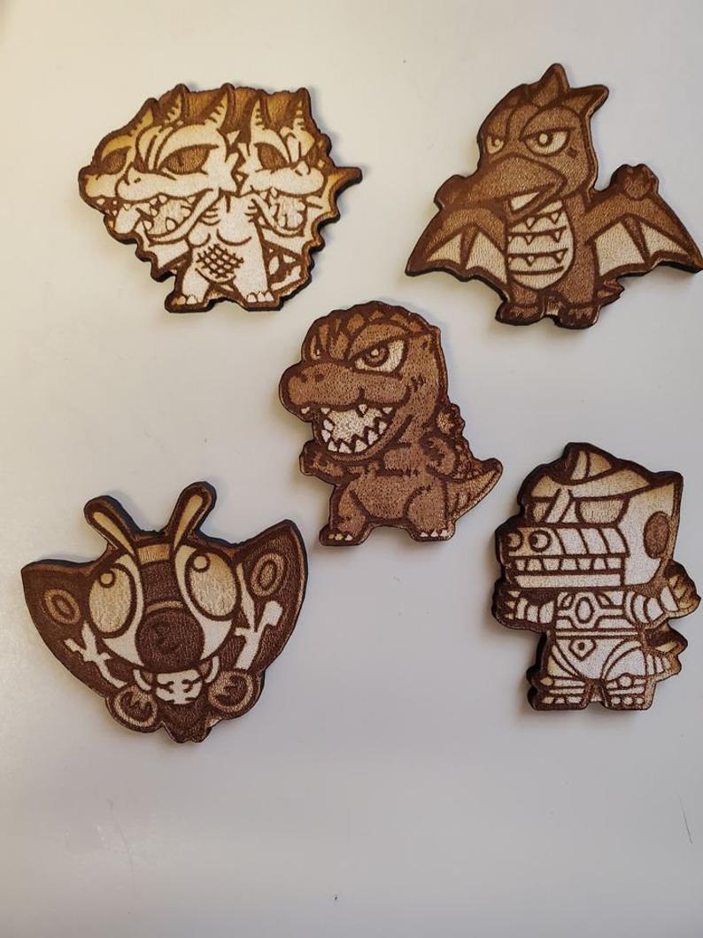 Laser Engraved Wooden Godzilla Pins
