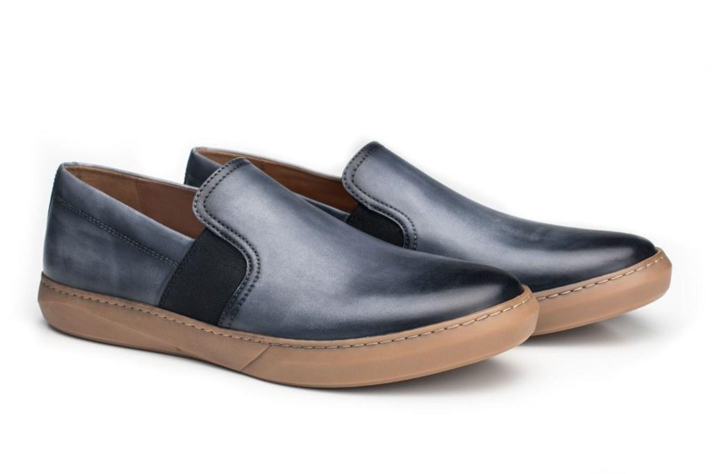 Moral Code dustin blue leather slip on shoes