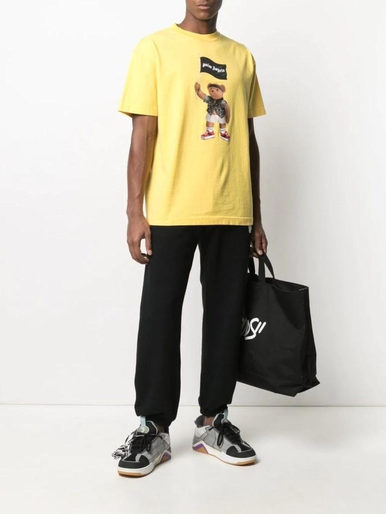 designer t-shirts for men Palm-Angels-Pirate-Bear-Logo-T-Shirt