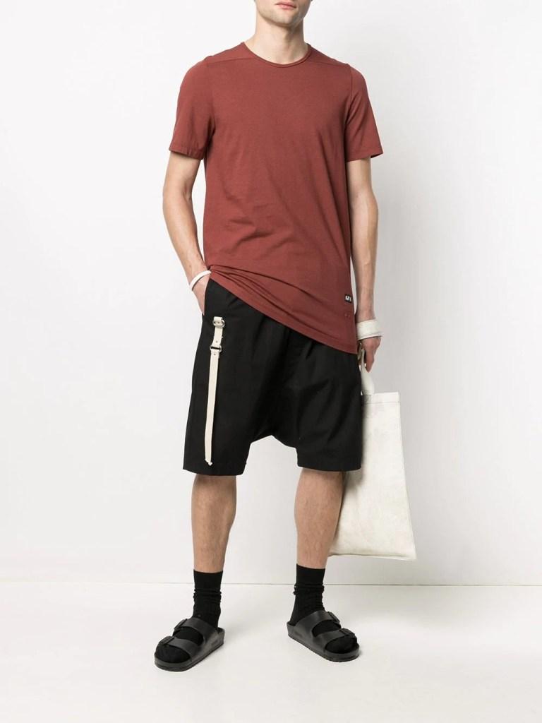 Designer T-shirt for menRick-Owens-DRKSHDW-Long-Cotton-T-Shirt