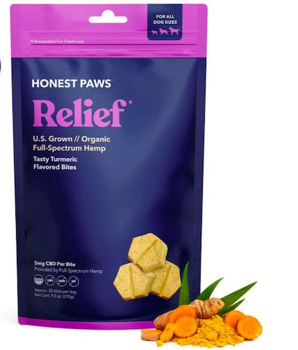 Honest Paws Organic Full Spectrum Hemp Oil Relief Bites cbd for pets