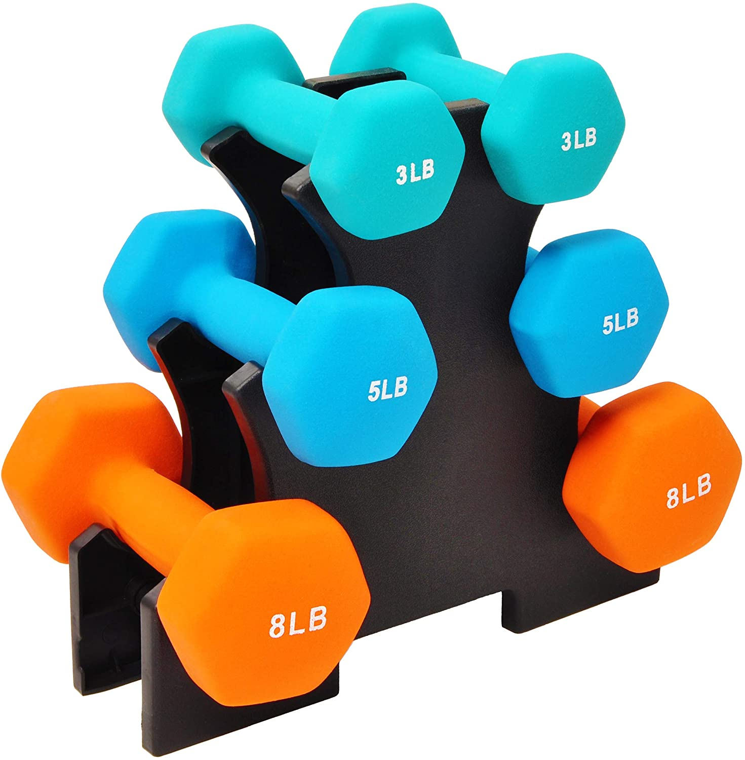 Sporzon Neoprene coated lightweight dumbbell set with stand