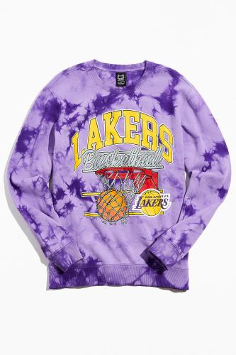 Ultra Game Vintage Lakers Tie Dye Crewneck Sweatshirt