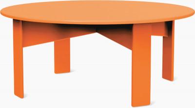 round orange coffee table