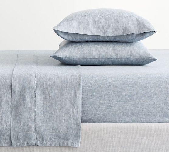 belgian flax linen sheets in blue