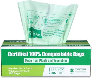compostable trash bags, how to go plastic free