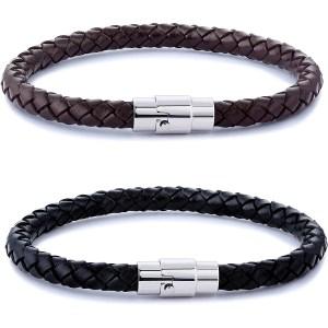 FIBO STEEL 2-Piece Braided Leather Bracelets, men's leather bracelets
