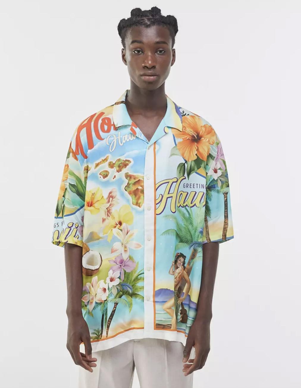 ASOS Bershka Hawaiian Print Shirt