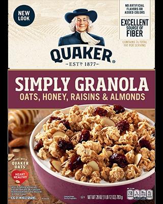Quaker Simply Granola, Oats, Honey, Raisins and Almonds