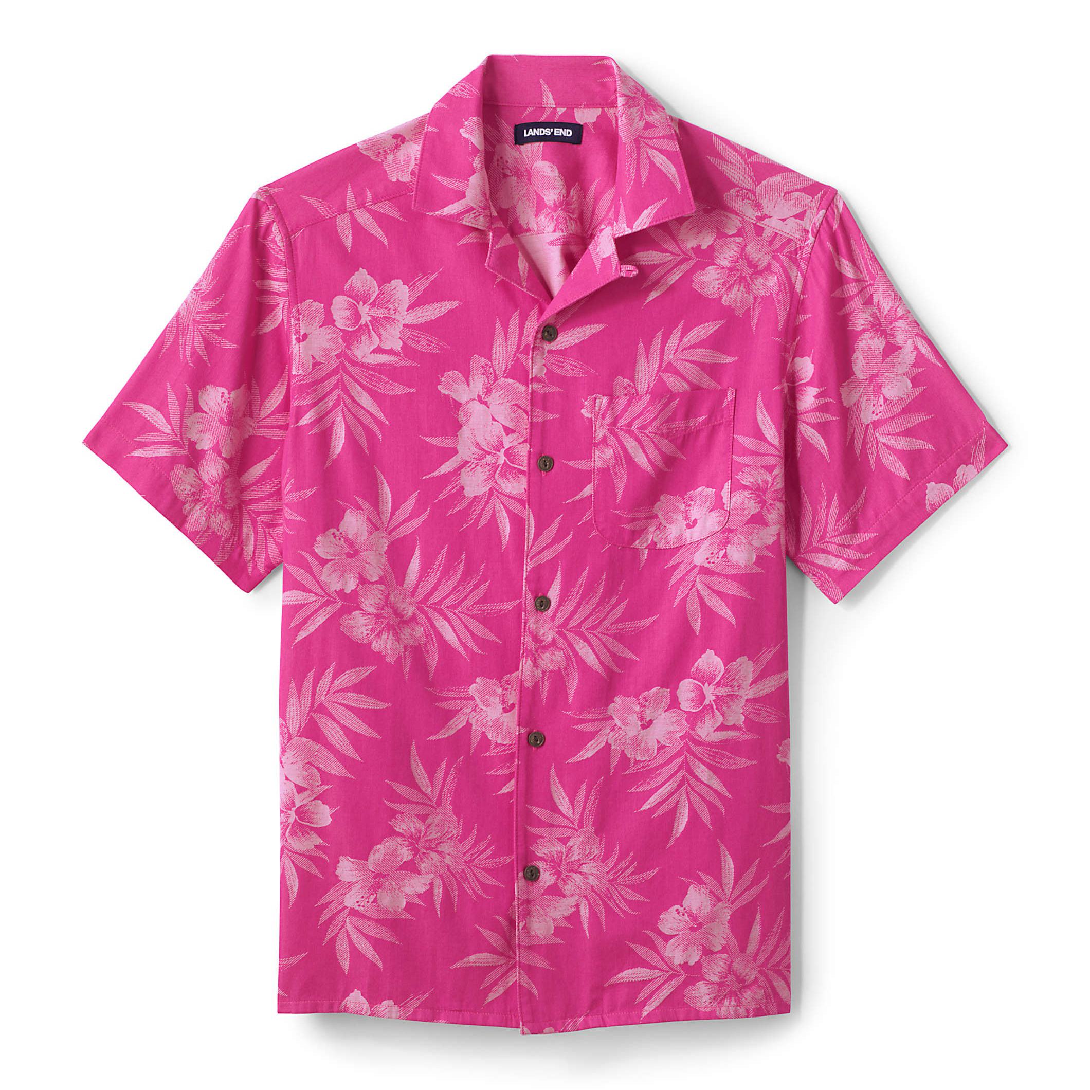 Lands' End Traditional Fit Short Sleeve Camp Collar Hawaiian Shirt