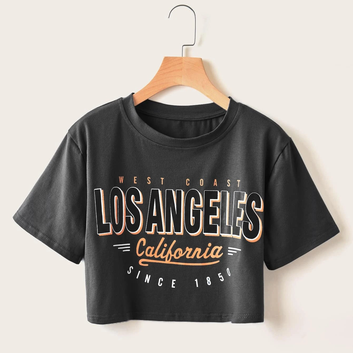 ROMWE Letter Graphic Crop Tee