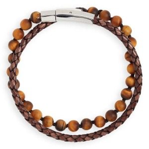 Jonas Studio Hand Knotted Tiger's Eye & Leather Bracelet